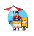 street fast food vendor booth cart vector image