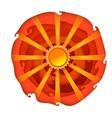 sun on orange circle background vector image