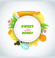 sweet honey text background with flat honey vector image vector image