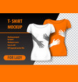 t-shirt mockup with hands in two colors mockup vector image vector image