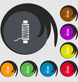 Thread Icon sign Symbols on eight colored buttons vector image