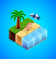 Tropical resort concept Beach with deck chair and vector image