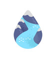 water care concept of mountain river waterdrop vector image vector image