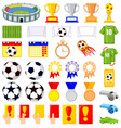 35 soccer elements colorful cartoon set vector image vector image