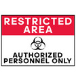 biohazard warning restricted area authorized vector image vector image