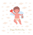 Card with smiling cupid holding valentine