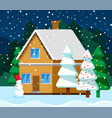 christmas card with house and fir-tree vector image vector image