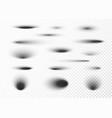 circle shadow set oval shadows and round shades vector image vector image