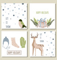 collection of 4 christmas card templates vector image