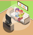 couple watching tv in living room vector image vector image