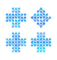 dots cross logo set blue circles shapes clean vector image