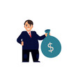 flat man with bag with dollars vector image vector image