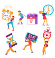 flat people holding watche clock time sign vector image vector image
