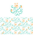 floral logo and seamless pattern vector image