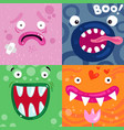 funny monsters faces concept vector image vector image