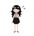 girl singing little girl singing with closed eyes vector image