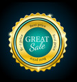 gold premium great sale badge cyan design element vector image