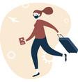 happy woman traveller with immunity passport vector image vector image
