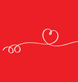 heart shape ribbon on red background vector image vector image