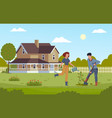 home gardening man digging with shovel and vector image vector image