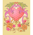 kimono embroidery elements with a heart symbol vector image vector image