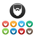 long beard icons set color vector image