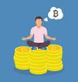 man sitting yoga lotus pose on bitcoins vector image vector image