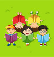 many children reading books in the park vector image vector image