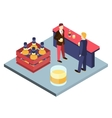 Men in suits at the bar sterilizing Isometric 3D vector image vector image