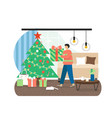 merry christmas scene young man carrying xmas vector image vector image