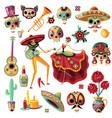 mexican day dead set vector image vector image