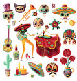 mexican day of dead set vector image vector image