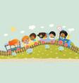 multiracial kids having trip vector image vector image