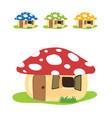 mushroom house cartoon set color design vector image