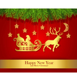 New Year greeting card with gold silhouette of vector image vector image