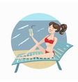 Pretty lady sitting and drinking lemonade vector image vector image