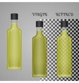 Realistic Olive Oil Bottle Mockup With Transparent vector image vector image