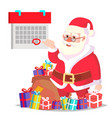santa claus and calendar with a red mark vector image vector image