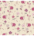 Seamless pattern with bugs and flowers vector image