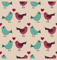 seamless pattern with lovely hand-drawn birds vector image vector image