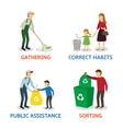 set of cartoon people gathering garbage vector image