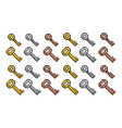 set of golden silver bronze pixel keys vector image
