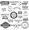 set of grey emblem for barber shop vector image vector image