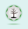 silhouette of a tree on a green emblem vector image