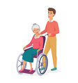 smiling young male men takes care on elderly vector image vector image
