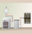solid and gas fuel boiler with accumulator tank vector image