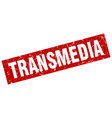 square grunge red transmedia stamp vector image vector image