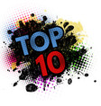 top 10 on black ink splatter background vector image