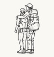 travelers couple standing with their backs vector image