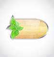 Wooden board with eco green leaves vector image